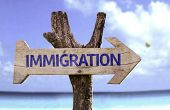 stock photo of overhauling  - Immigration wooden sign with a beach on background  - JPG