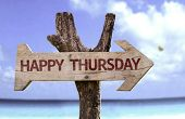 image of thursday  - Happy Thursday sign with a beach on background  - JPG