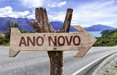 "stock photo of reveillon  - ""Ano Novo"" (In Portuguese: New Year) sign with a street background  - JPG"