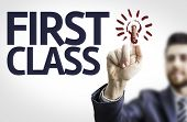 foto of first class  - Business man pointing to transparent board with text - JPG