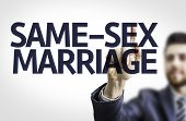 picture of same sex marriage  - Business man pointing to transparent board with text - JPG