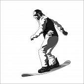 stock photo of snowboarding  - Snowboarder sliding down - JPG