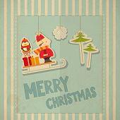stock photo of santa sleigh  - Merry Christmas Greeting Card in Retro Style  - JPG