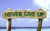 pic of persistence  - Never Give Up wooden sign with a beach on background - JPG