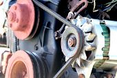 image of dynamo  - Close view of the gear of an engine - JPG