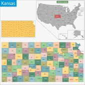 picture of kansas  - Map of Kansas state designed in illustration with the counties and the county seats - JPG