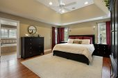 picture of master bedroom  - Master bedroom in luxury home with view into bathroom - JPG