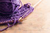 pic of knitting  - Knitting Set On Wooden Table - JPG