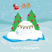 stock photo of igloo  - christmas igloo at the evening with flying Santa Claus and reindeer  - JPG