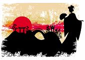 pic of geisha  - grunge abstract landscape with Asian geisha girl silhouette  - JPG