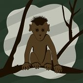 picture of animated cartoon  - Cartoon monkey sitting on a tree branch and looking right vector illustration - JPG