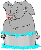 foto of washtub  - This illustration depicts an elephant having a bubble bath in a washtub - JPG