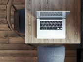 picture of internet-cafe  - laptop on table in a cafe - JPG