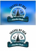 Постер, плакат: Yacht Club emblem or badge