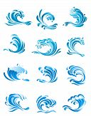 foto of marines  - Large curling blue waves icons or logo elements set for marine or nautical themed design - JPG