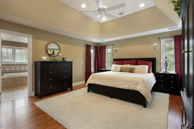 foto of master bedroom  - Master bedroom in luxury home with view into bathroom - JPG