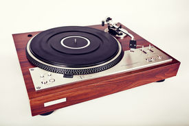 picture of analogy  - Stereo Turntable Vinyl Record Player Analog Retro Vintage Top View - JPG