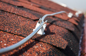 pic of lightning-rod  - Lightning conductor rod on the roof close up - JPG