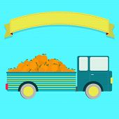stock photo of truck farm  - Truck carrying oranges - JPG