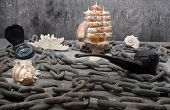 picture of shells  - Old rusty metal chain - JPG