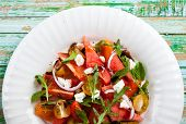 image of rocket salad  - Tomato and Watermelon Salad with Feta and balsamic sauce - JPG