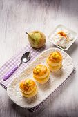 image of french pastry  - french pastry with pear and ricotta - JPG