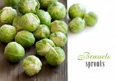 pic of brussels sprouts  - Brussels sprouts on an old wooden table border - JPG