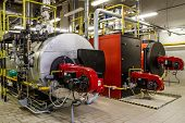 picture of boiler  - Industrial Gas boilers in gas boiler room - JPG