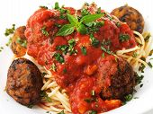 picture of meatball  - Spaghetti with meatballs isolated on white background - JPG