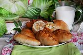 Постер, плакат: rustic still life with pies cabbage and milk