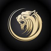 image of panther  - Gold tiger head logo template - JPG