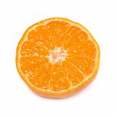 pic of clementine-orange  - Orange mandarin with green leaf isolated on white background - JPG