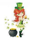 image of leprechaun  - Pretty leprechaun girl with beer St - JPG