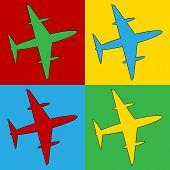 picture of aeroplane symbol  - Pop art plane symbol icons - JPG