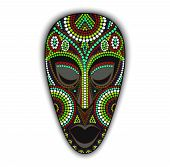 pic of african mask  - Vector colorful ethnic african mask with many dots - JPG
