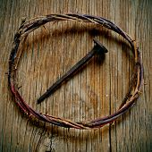 pic of passion christ  - a depiction of the crown of thorns of Jesus Christ and a nail on the Holy Cross - JPG