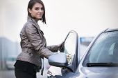 image of car-window  - Young woman - JPG