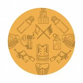 pic of paintball  - Vector round design pattern with contour elements and equipment for paintball on yellow background - JPG