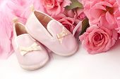 stock photo of pink shoes  - Vintage pink baby shoes with fresh pink roses and pink boa plenty of space for text - JPG