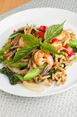 image of thai food  - Thai food shrimp stir fry with lo mein noodles Shallow depth of field - JPG