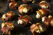 picture of bacon  - Homemade Bacon Wrapped Mushrooms Stuffed with Cream Cheese - JPG