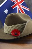 picture of army  - Anzac army slouch hat with Australian Flag on vintage wood background - JPG