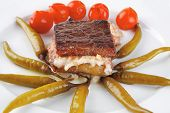 stock photo of cheese-steak  - roast beef steak and fused yellow cheese - JPG