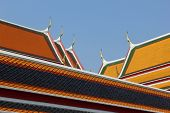 stock photo of gable-roof  - The picture shows the difference of color and roof in Wat Pho - JPG