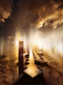 foto of surrealism  - 3d illustration of surreal cityscape where the building are in shapes of cubes with very dense clouds in the sky and very bright - JPG
