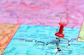 stock photo of usa map  - Photo of pinned Salt Lake City on a map of USA - JPG