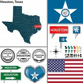 picture of texans  - Vector set of Houston Texas in USA with flag and icons on white background - JPG