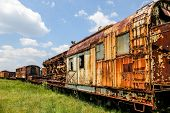 foto of train-wheel  - An old abandoned railroad train on tracks - JPG