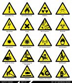 stock photo of signs  - Set of safety signs. Caution signs. Collection of warning signs. Vector illustration. Signs of danger. Signs of alerts.   - JPG