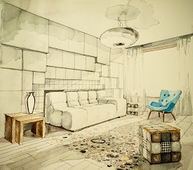 pic of freehand drawing  - Watercolor aquarelle and ink freehand sketch perspective architectural drawing of a living room in an apartment flat - JPG